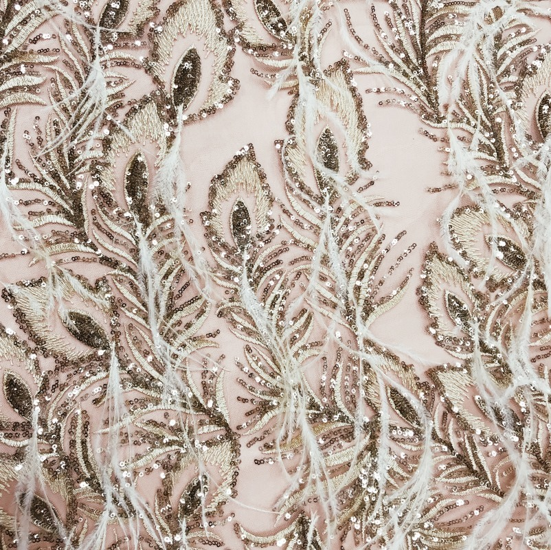 Tecido Tule Bordado Dourado Plumas e Paetês