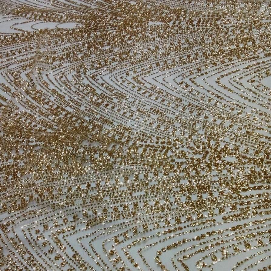 Tecido Tule com Glitter Desenhos Dourados
