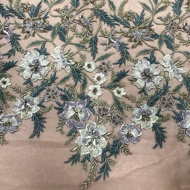 Tecido Tule Floral Bordado com Pedraria - Elegance