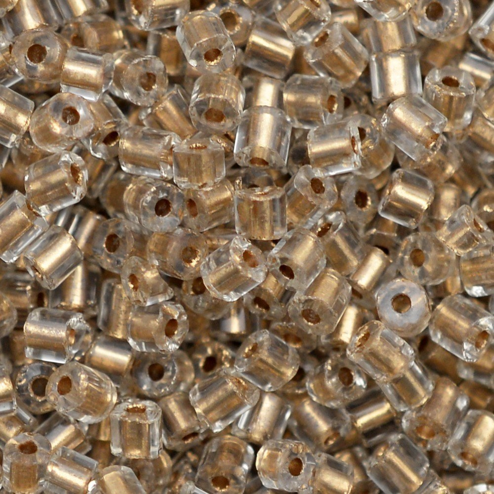 Vidrilho Lined Preciosa Cristal Dourado 2x9/0=2,6mm 500g