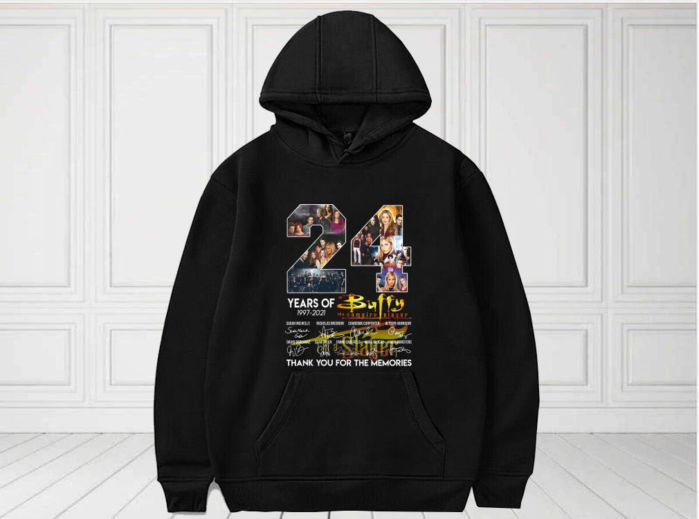 24 Years Of 1997 2021 Buffy The Vampire Slayer Signatures Thank You For The Memories Shirt, Buffy The Vampire Slayer For Fan Shirt