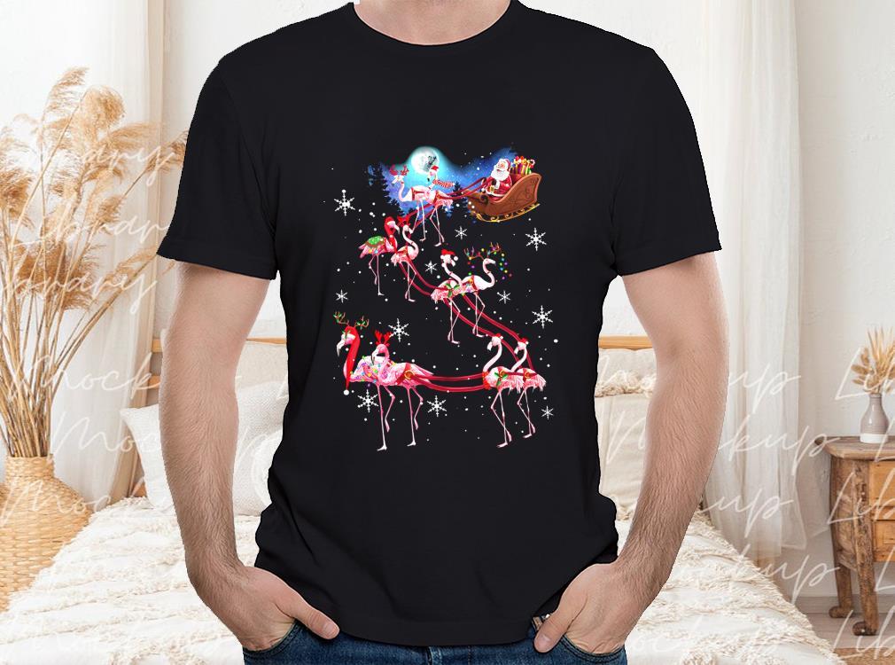 A Flamingo Pulling A Sled Christmas Shirt, Reindeer Santa Claus Christmas Shirt, Flamingo Reindeer Santas Sleigh Christmas Gift T-shirt