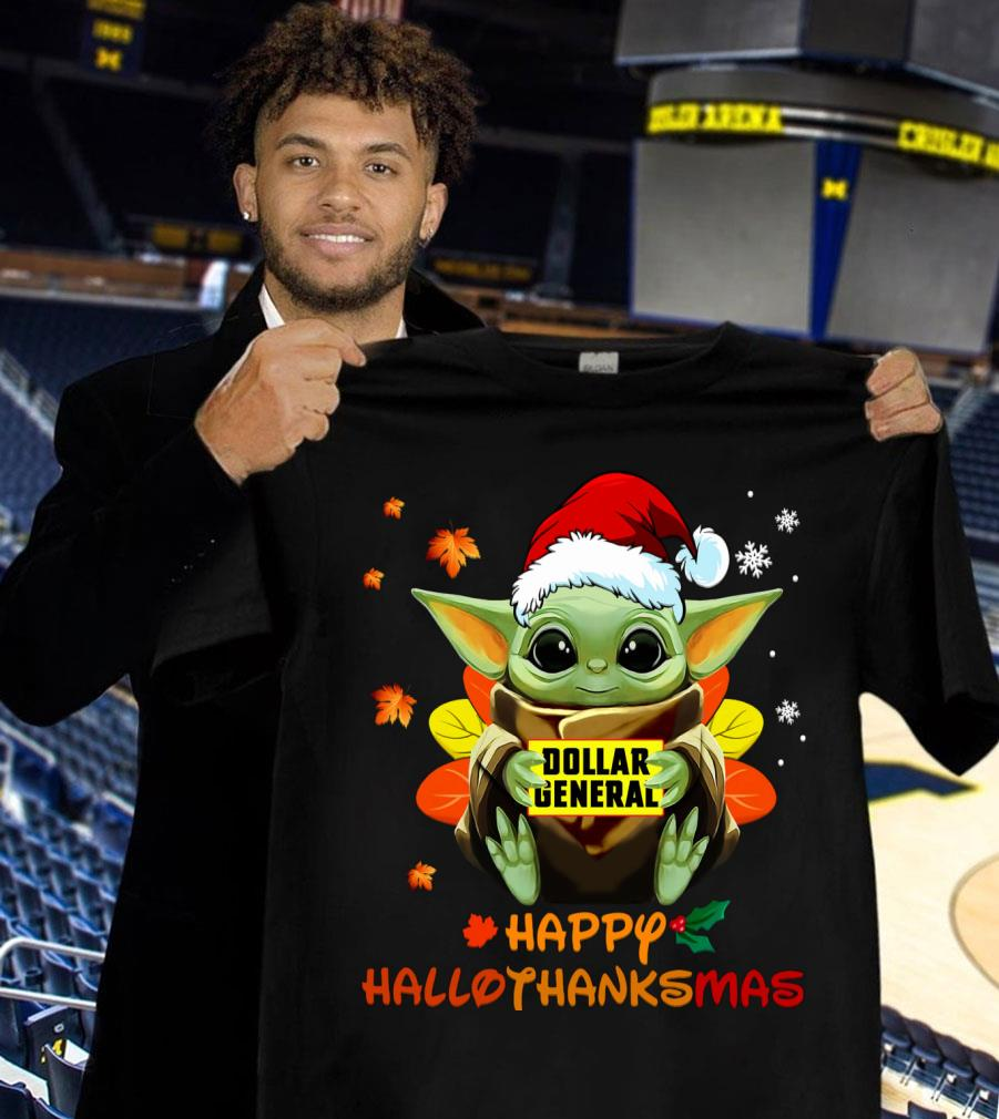 Awesome Baby Yoda Mashup Dollar General Happy HalloThanksMas Shirt