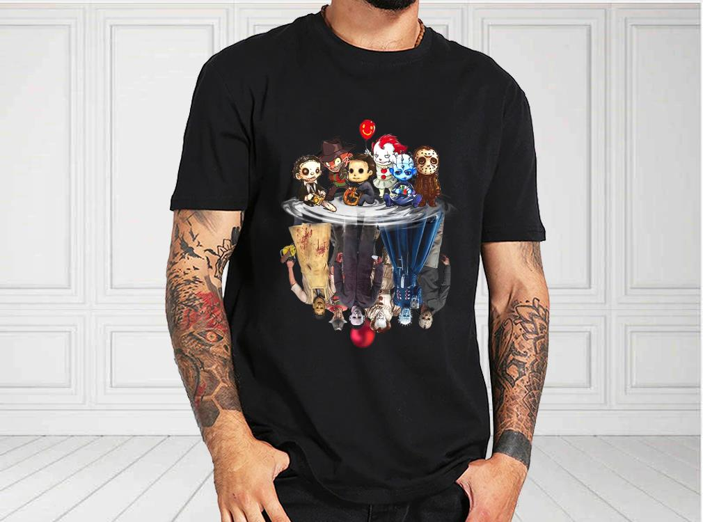 Horror Movie Chibi Character Water Reflection Halloween Shirt, Halloween Horror 2021 Shirt, Horror Halloween For Fan Shirt