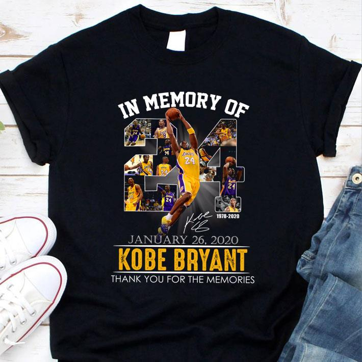 Awesome In memory of No. 24 Kobe Bryant LA Lakers Thank You Memories Signature Shirt