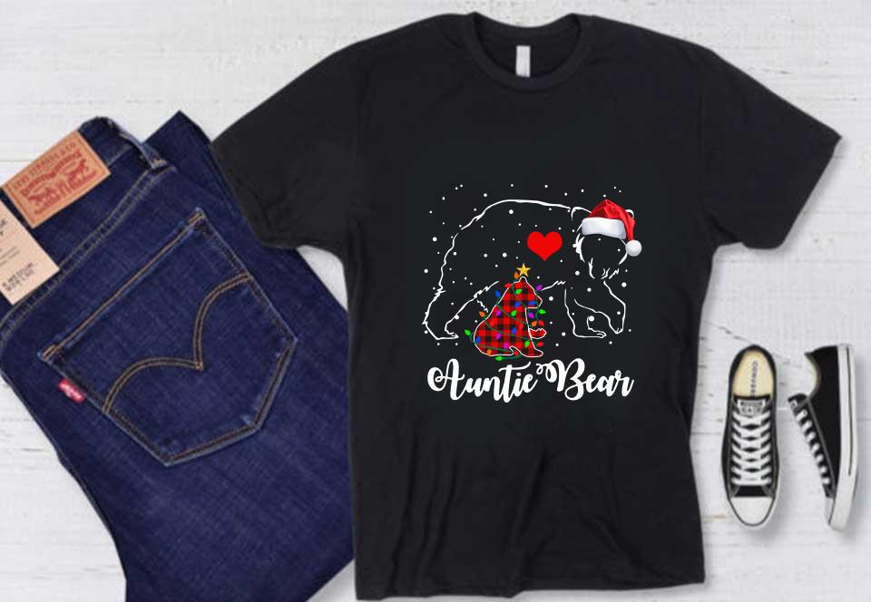 Auntie Bear Red Plaid Auntie Bear Shirt, Auntie Bear Red Plaid Christmas Pajama Matching Family Gift Sweater