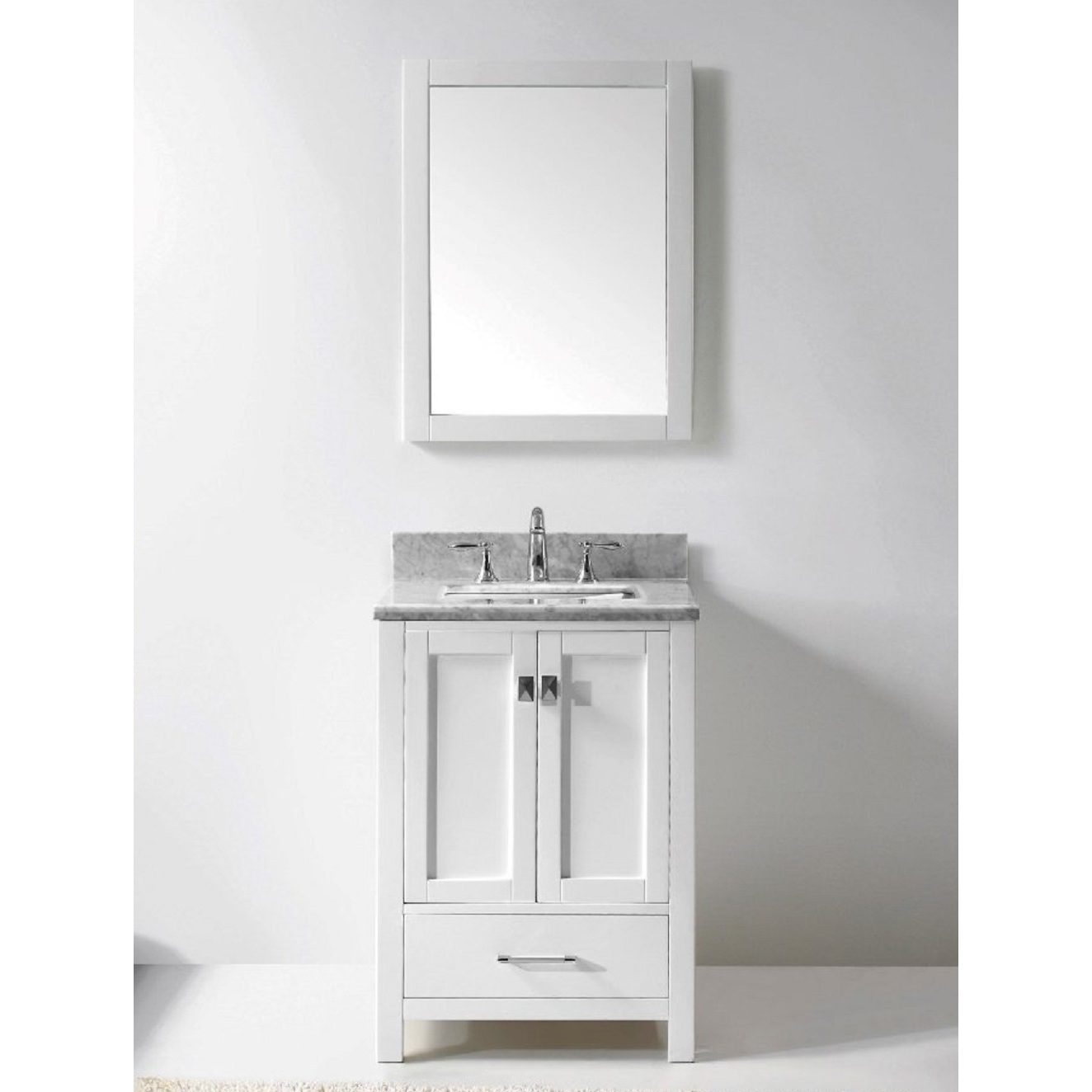24 Inch White Bathroom Vanity With Marble Top
