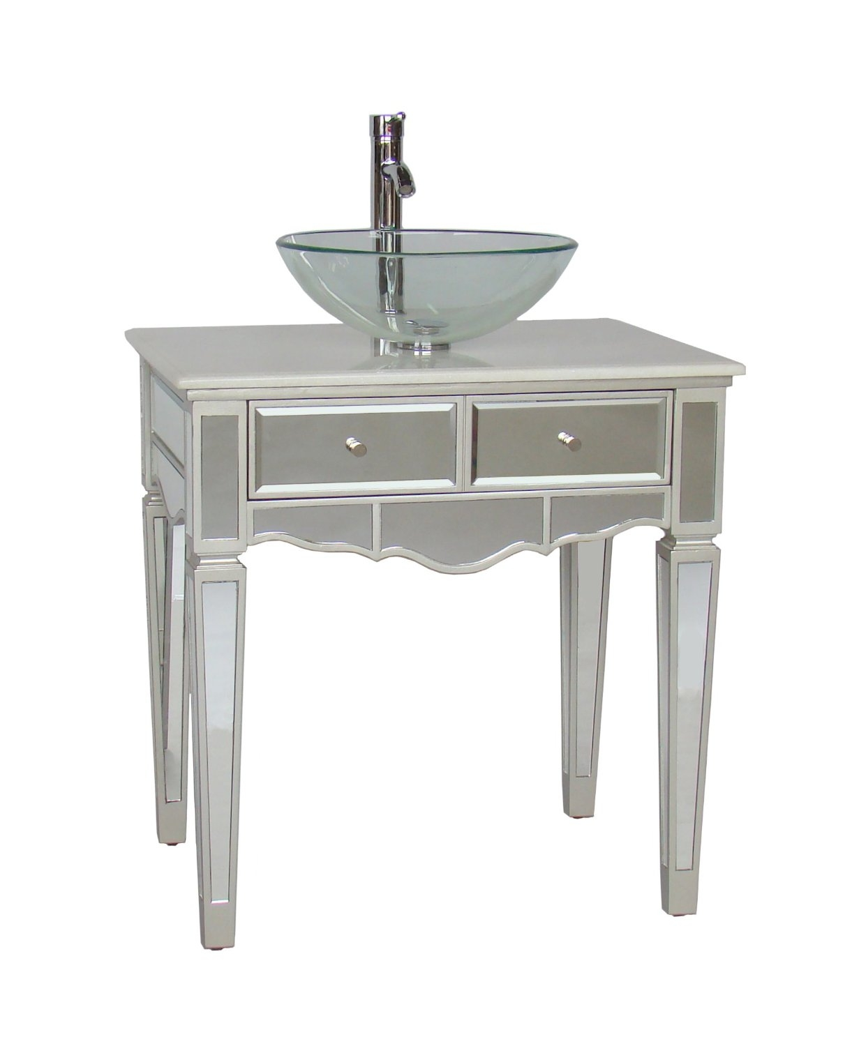 Mirrored Bathroom Vanity With Vessel Sink
