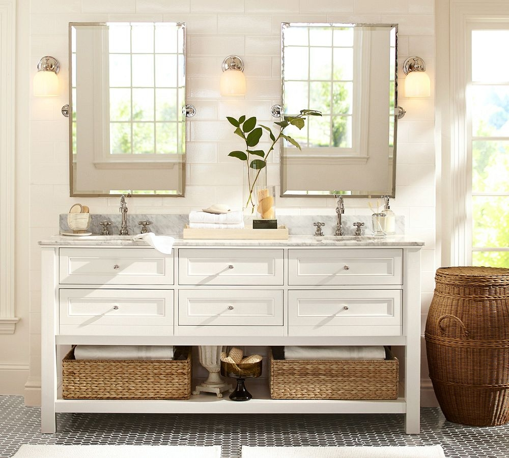 White Bathroom Vanity With Baskets