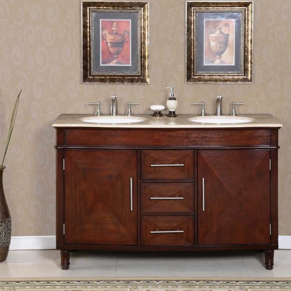 55 Inch White Double Sink Vanity