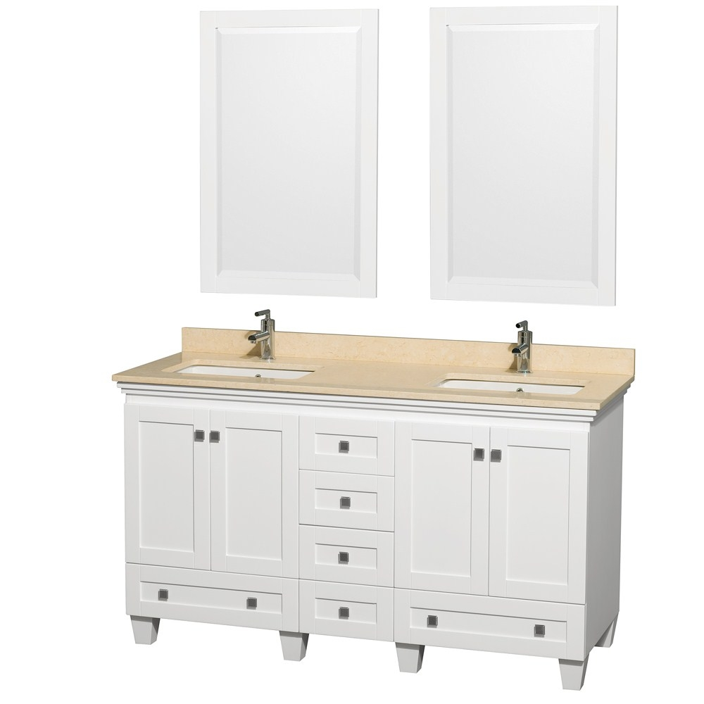 60 Inch White Bathroom Vanity With Carrera Marble Top