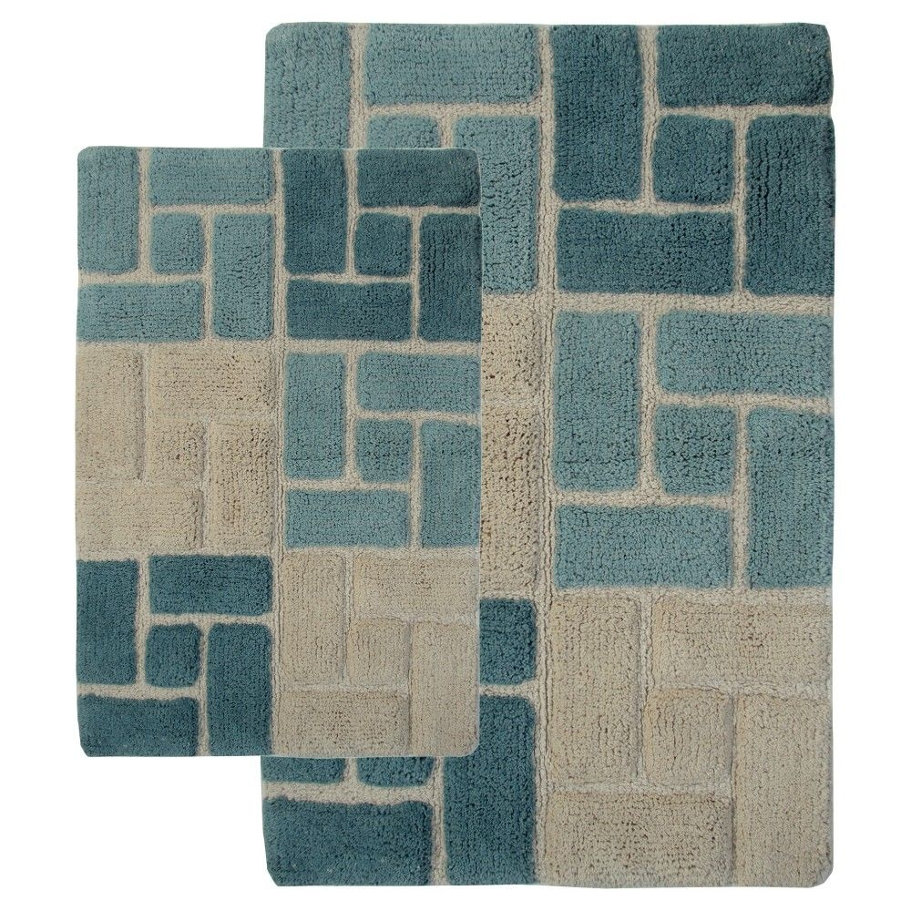 Blue And Tan Bathroom Rugs