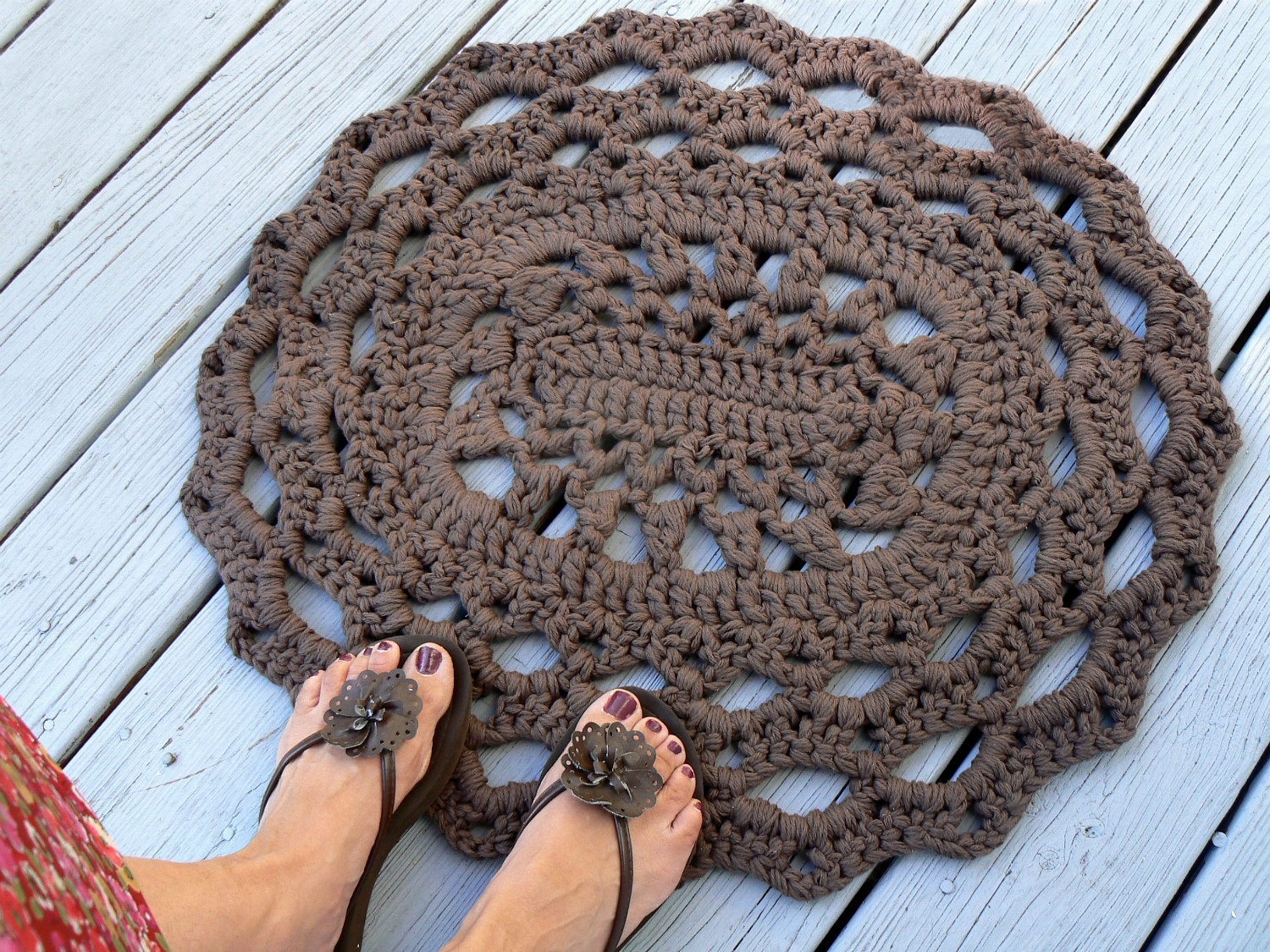 Dark Taupe Bath Rugscotton oval lace thick doily kitchen or bath rug crocheted in dark