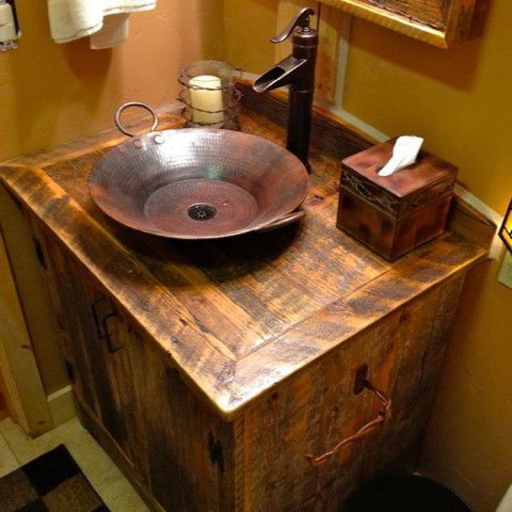 Small Bathroom Vanity With Copper Sink