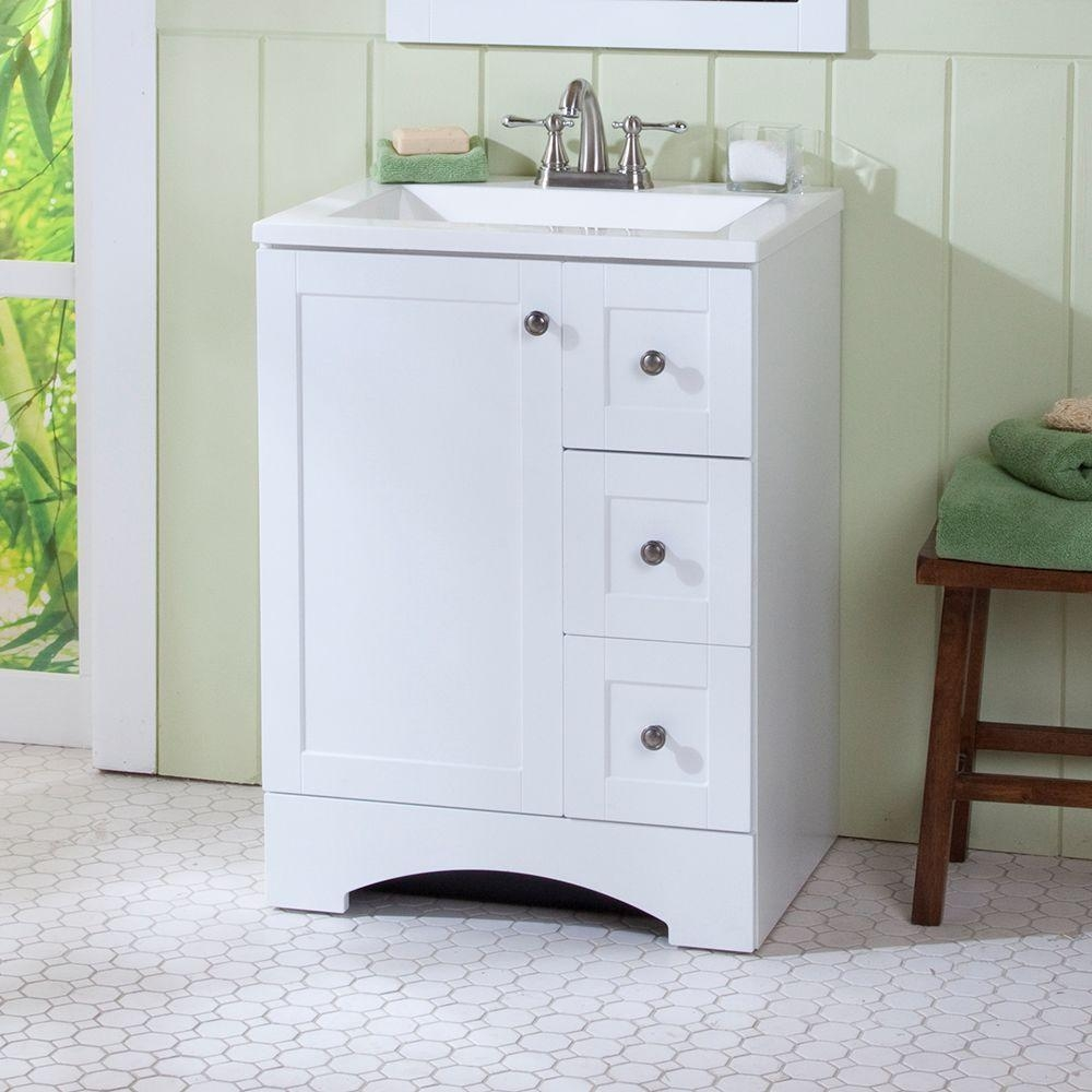 24 Inch White Vanity With Drawers
