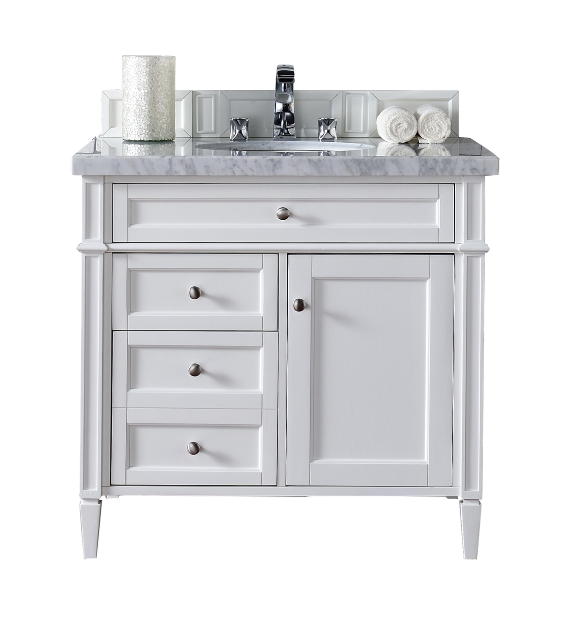 36 Inch White Bathroom Vanity With Drawers