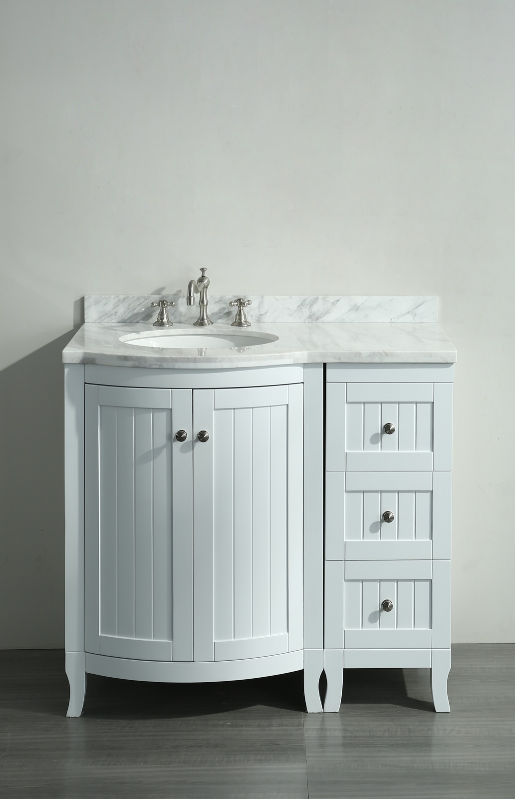 36 Inch White Vanity With Carrera Marble Top