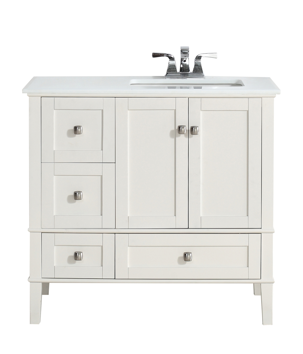 36 White Bathroom Vanity With Top