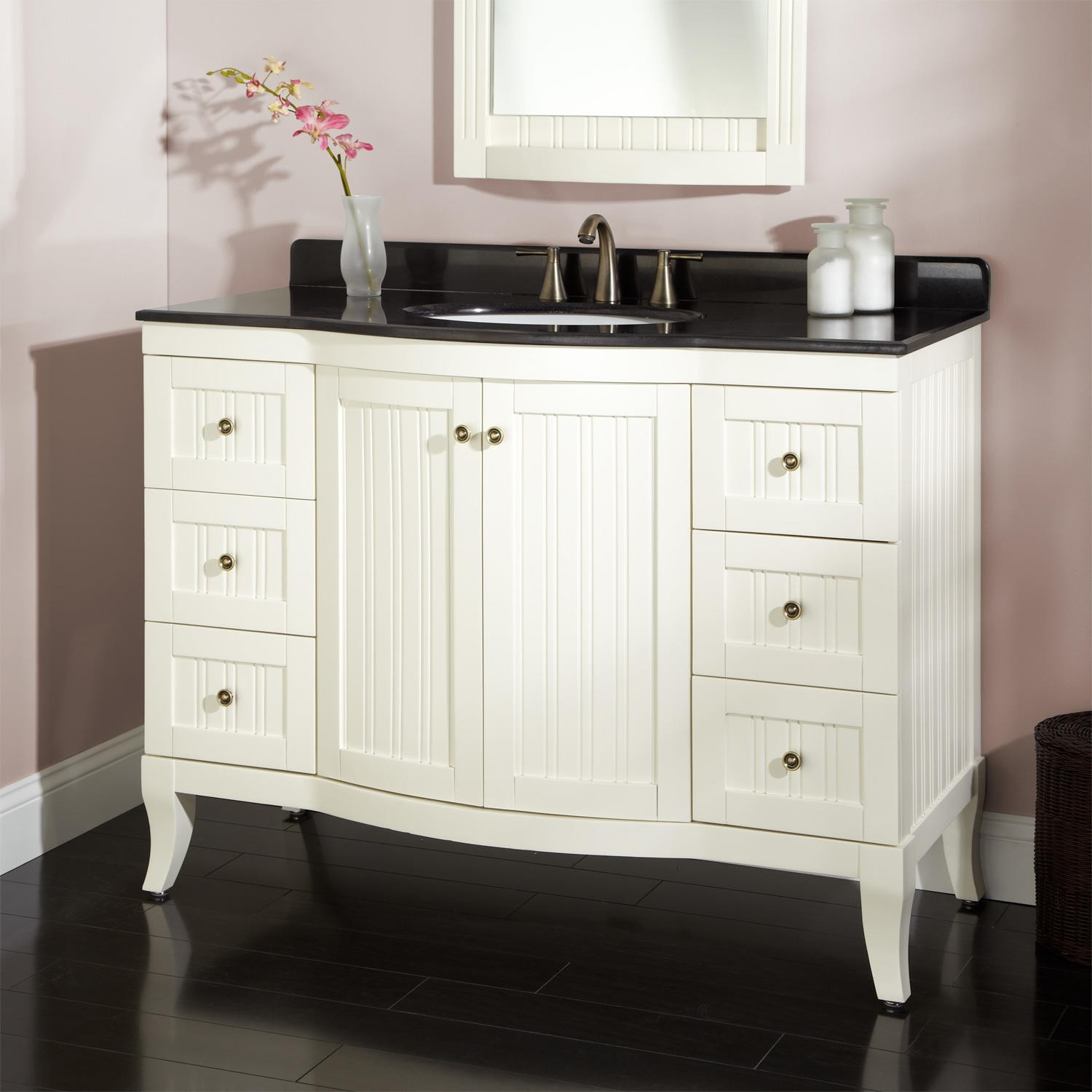 36 White Vanity With Black Granite Top
