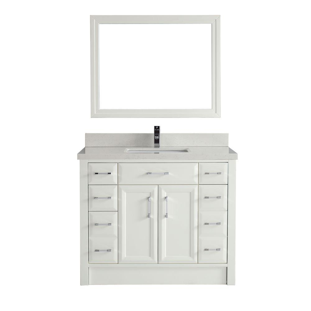 42 White Vanity With Carrara Marble Top