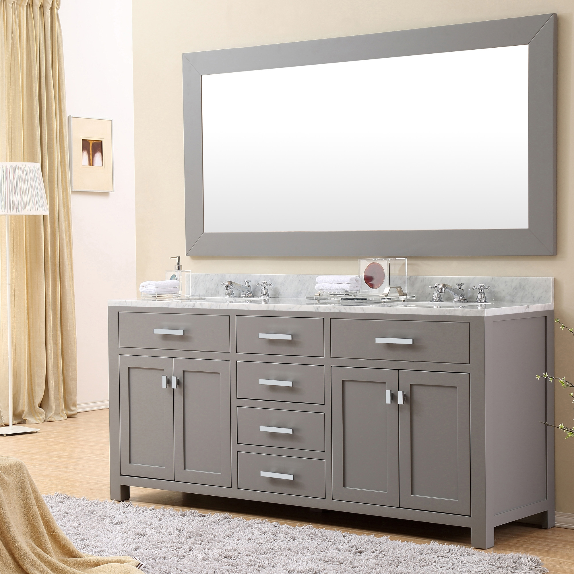 72 Inch White Vanity With Carrara Marble Top