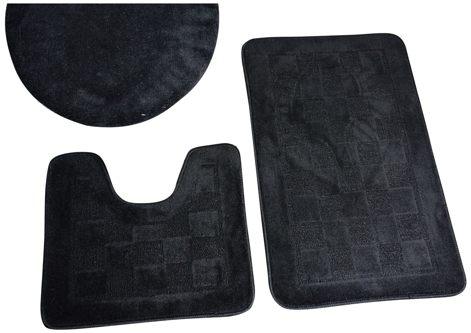 Permalink to Black 3 Piece Bathroom Rug Set
