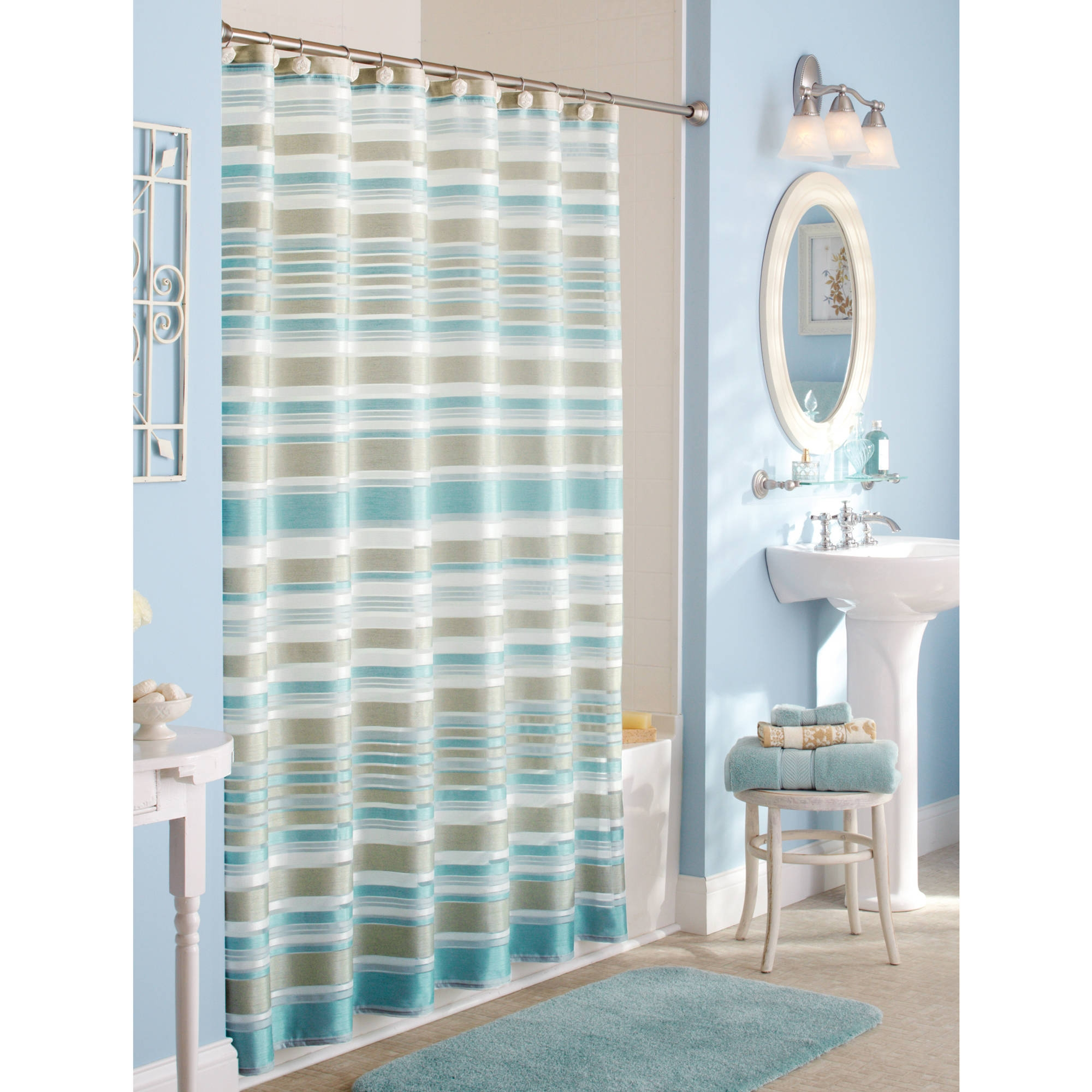 Chevron Bathroom Sets With Shower Curtain And Rugs
