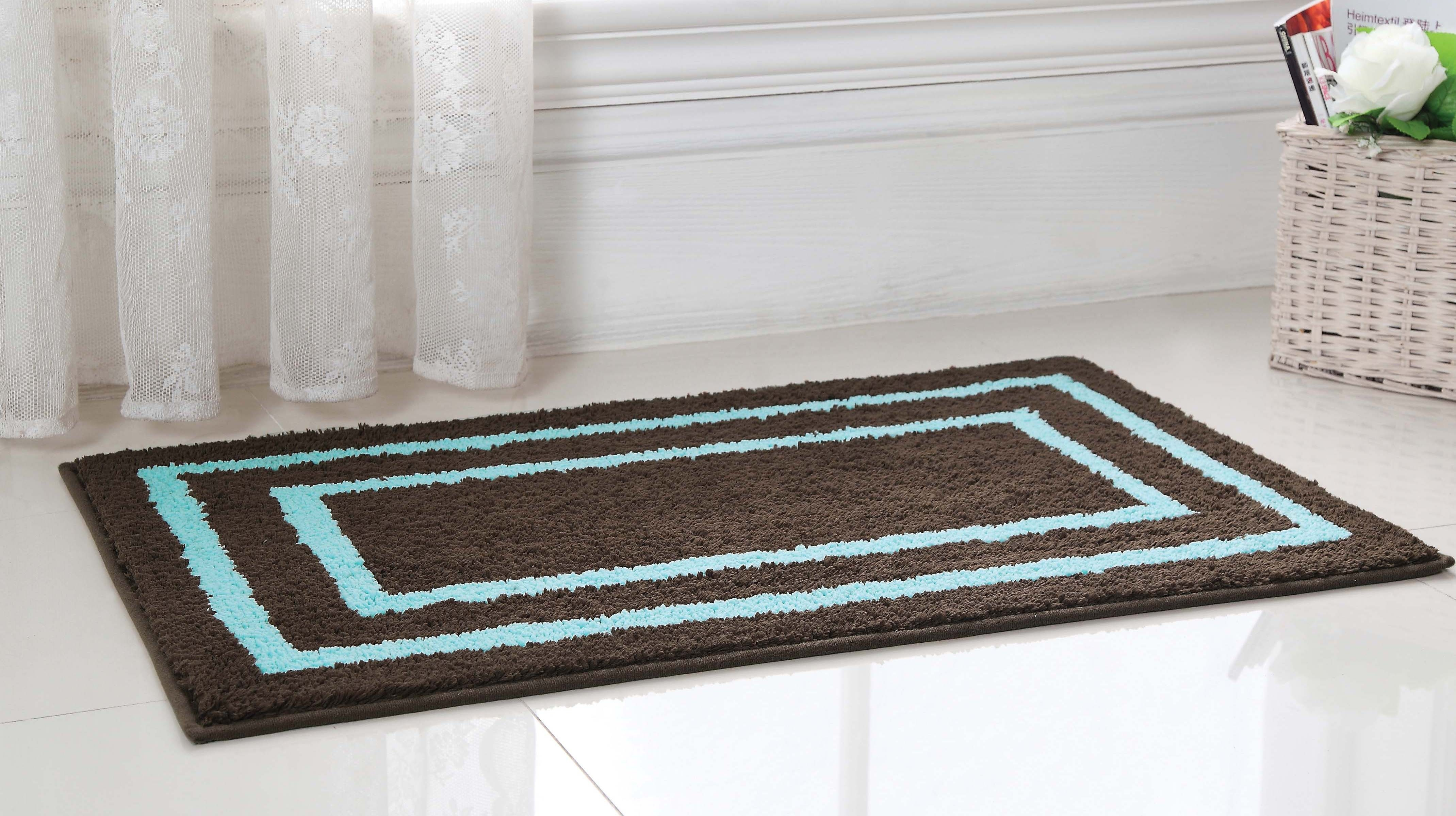 Chocolate Brown And Blue Bath Rugs