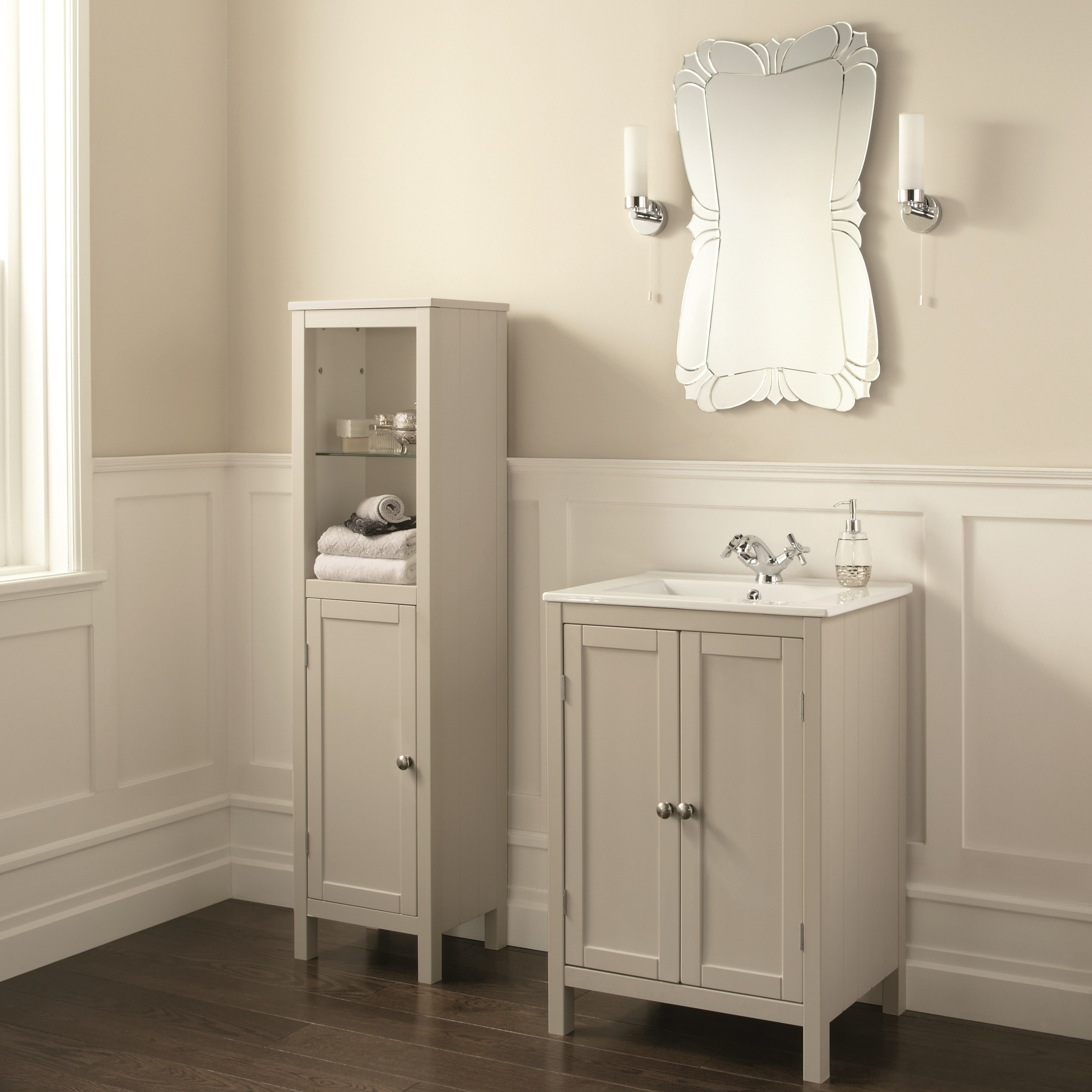 Cream Gloss Bathroom Vanity Unit