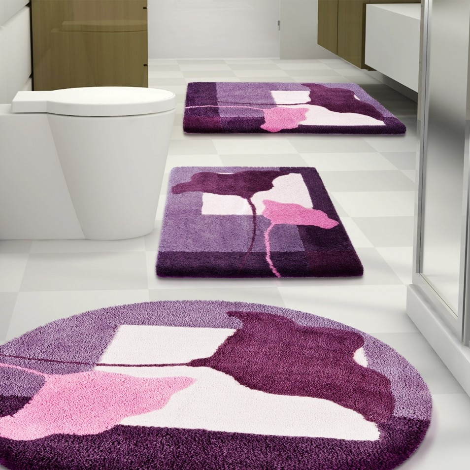 Dark Purple Bath Rug Set