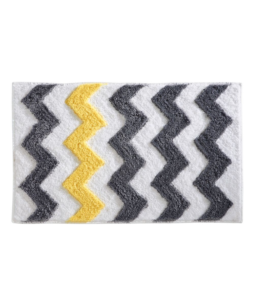 Permalink to Gray And Yellow Chevron Bath Rug