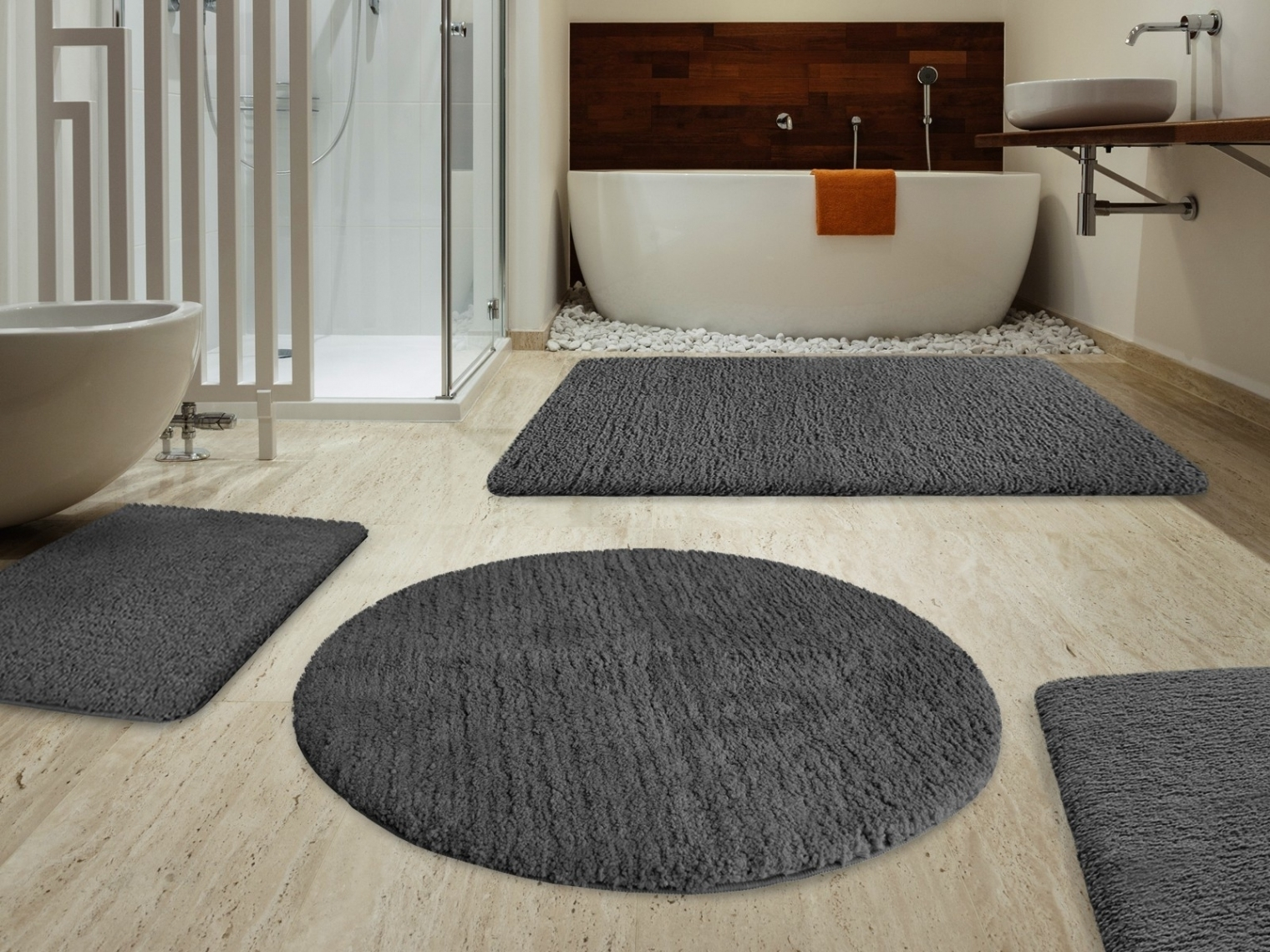 Permalink to Gray Bath Rug Set