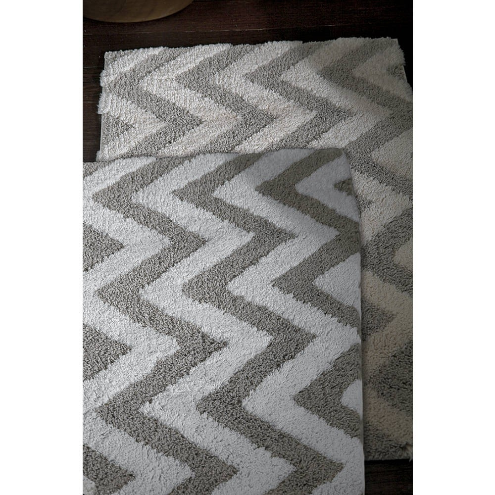 Gray Chevron Bathroom Rug