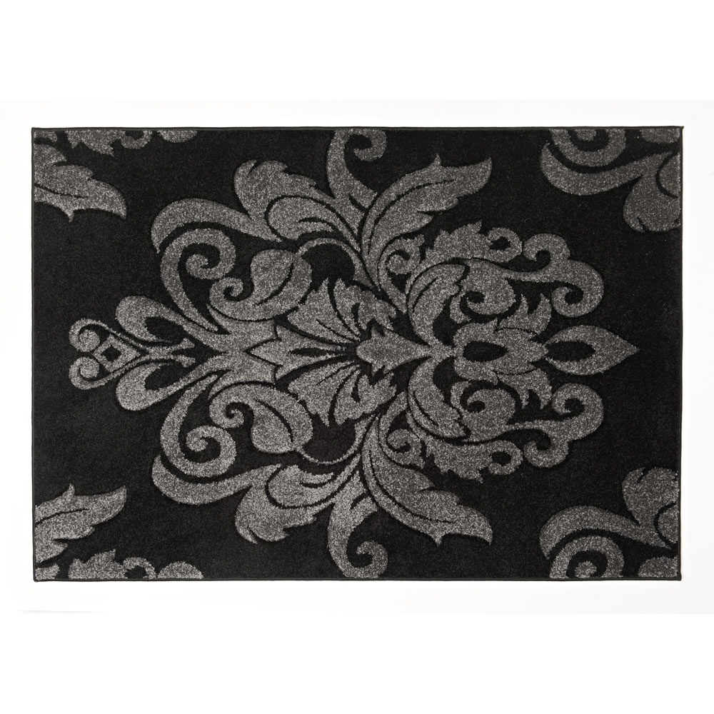 Gray Damask Bath Rug