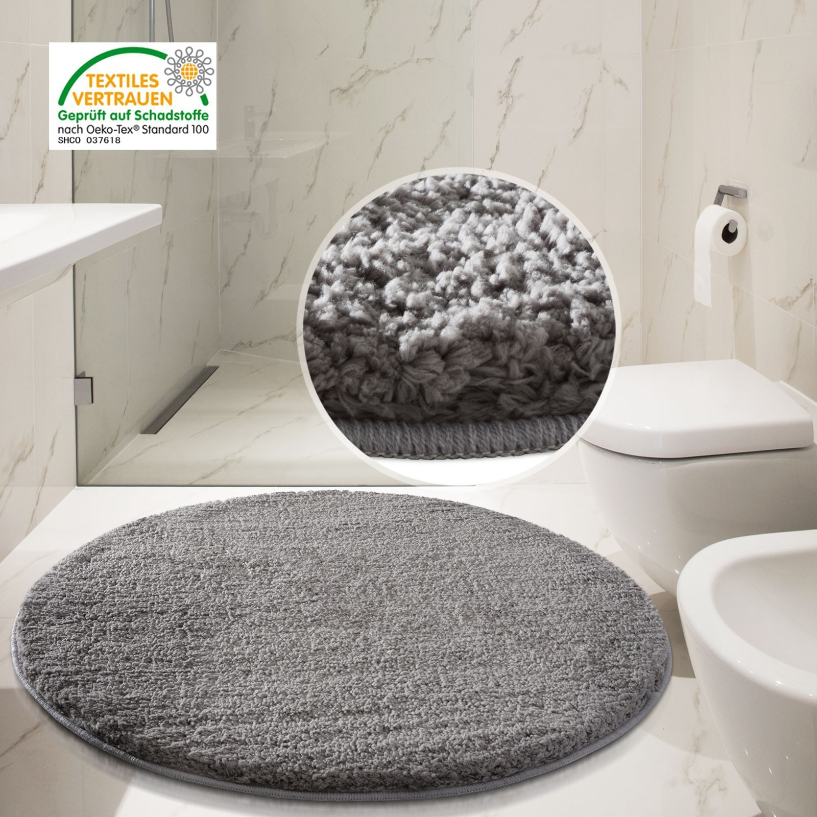 Large Grey Bathroom Rug