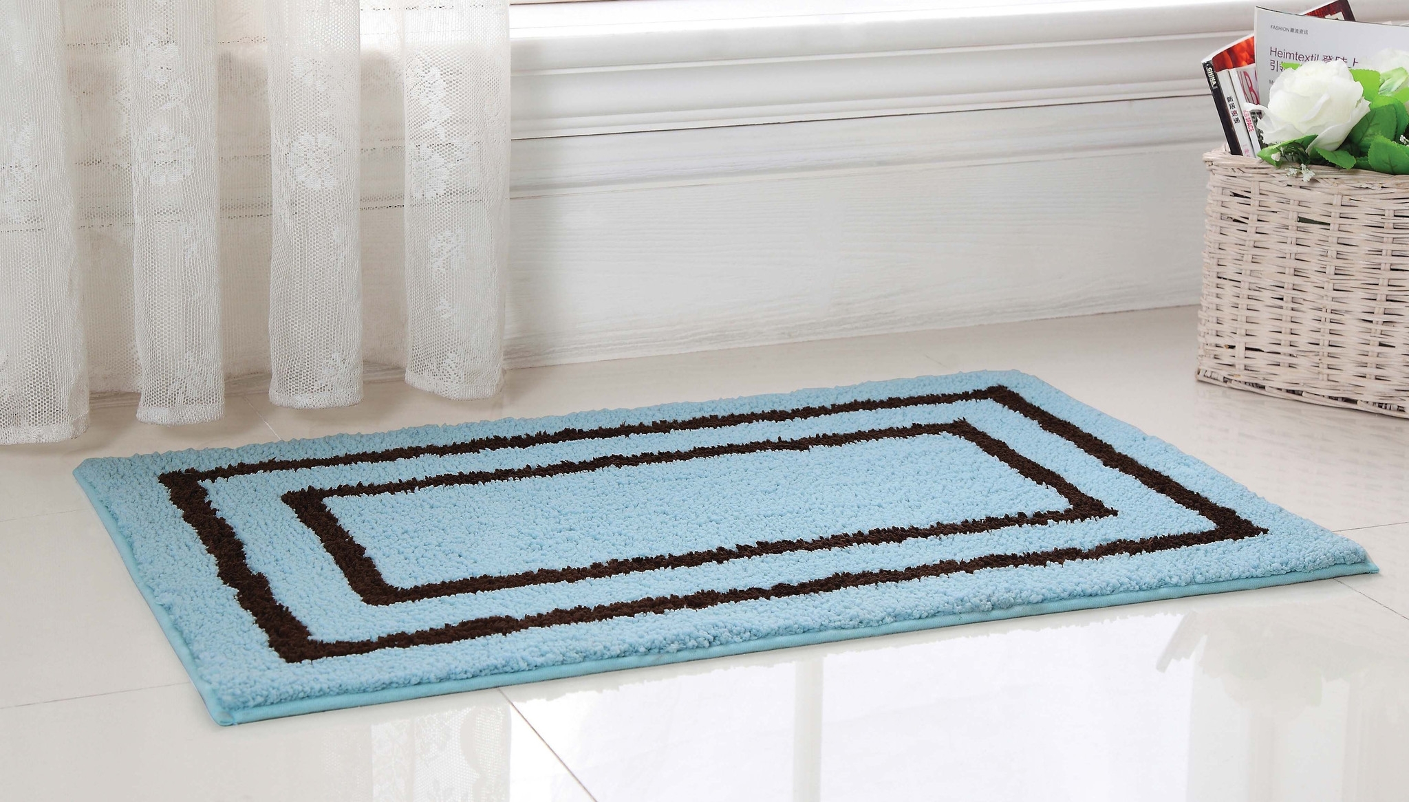 Light Blue And Brown Bathroom Rugs