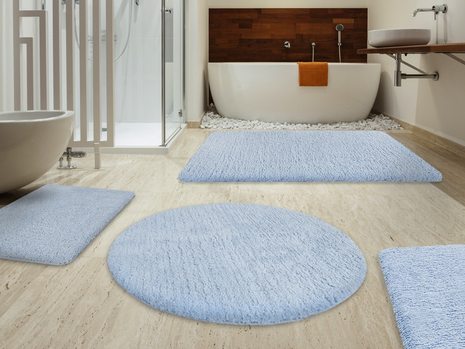 Light Blue Bath Mat Set