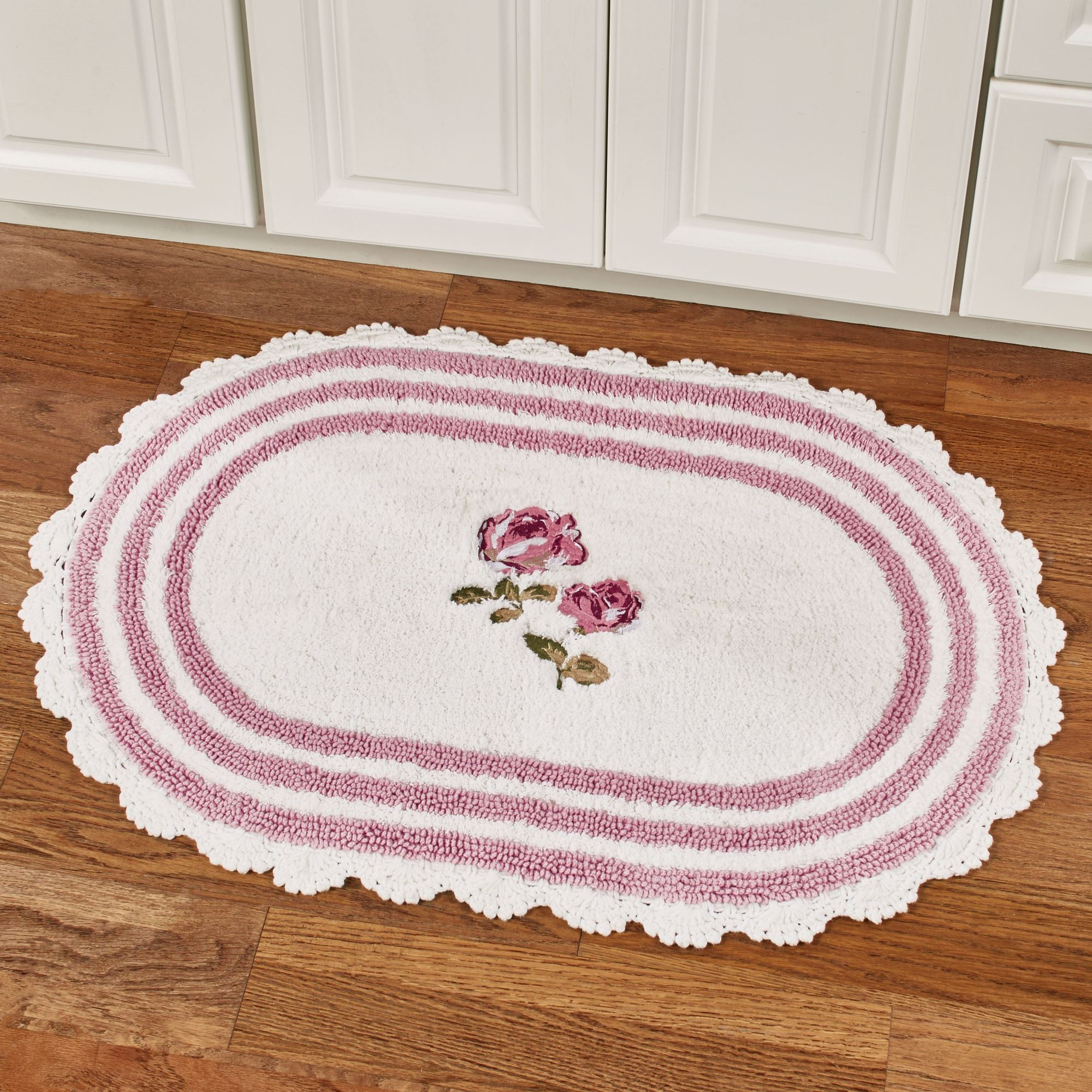 Pink Floral Bath Rugsbath rugs contour rugs and toilet lid covers touch of class