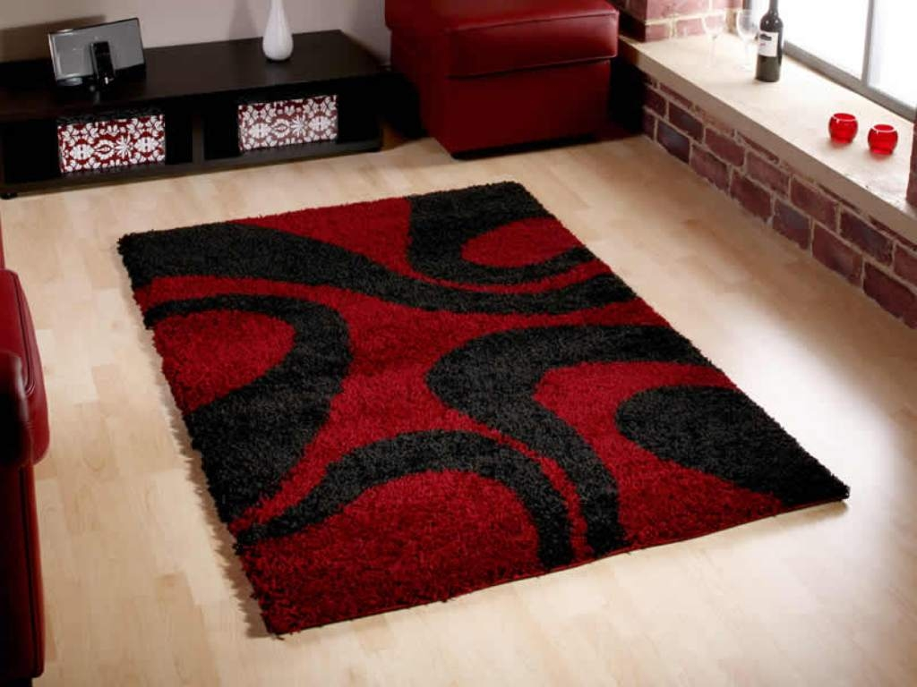 Red Black And White Bath Rug