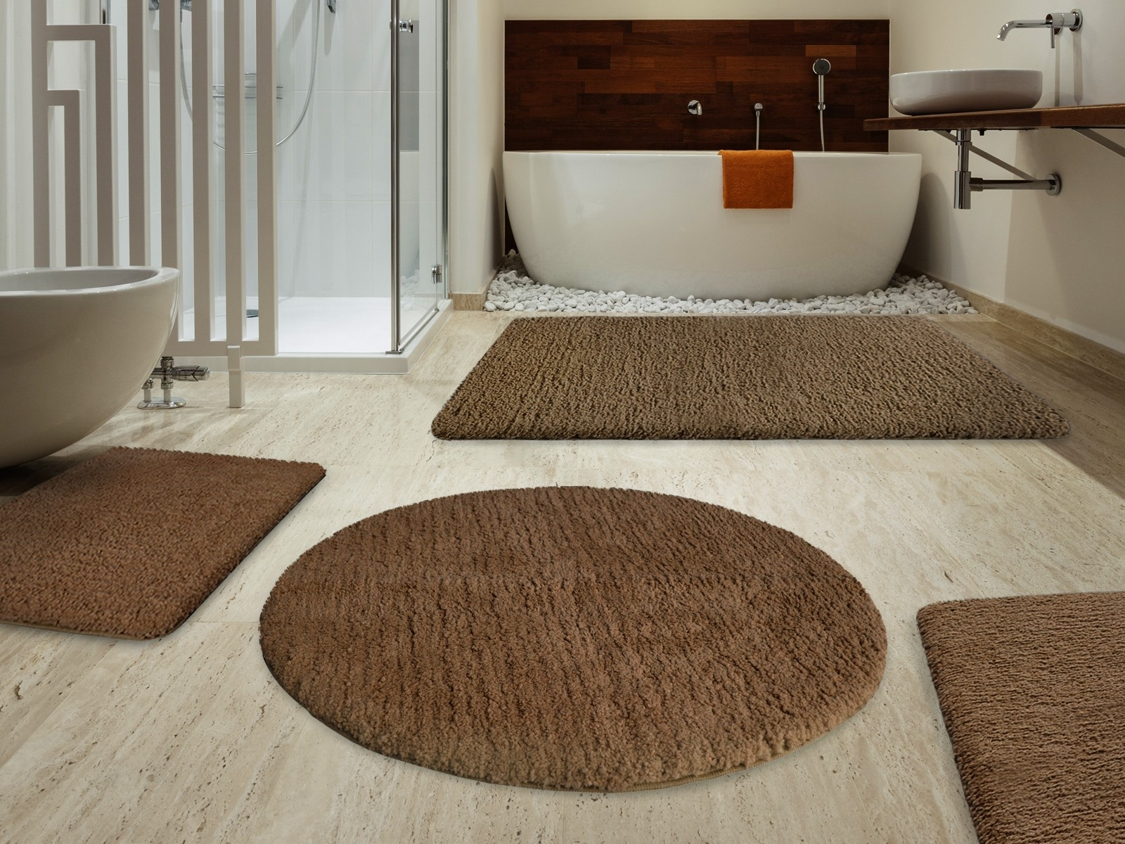 Round Brown Bathroom Rug