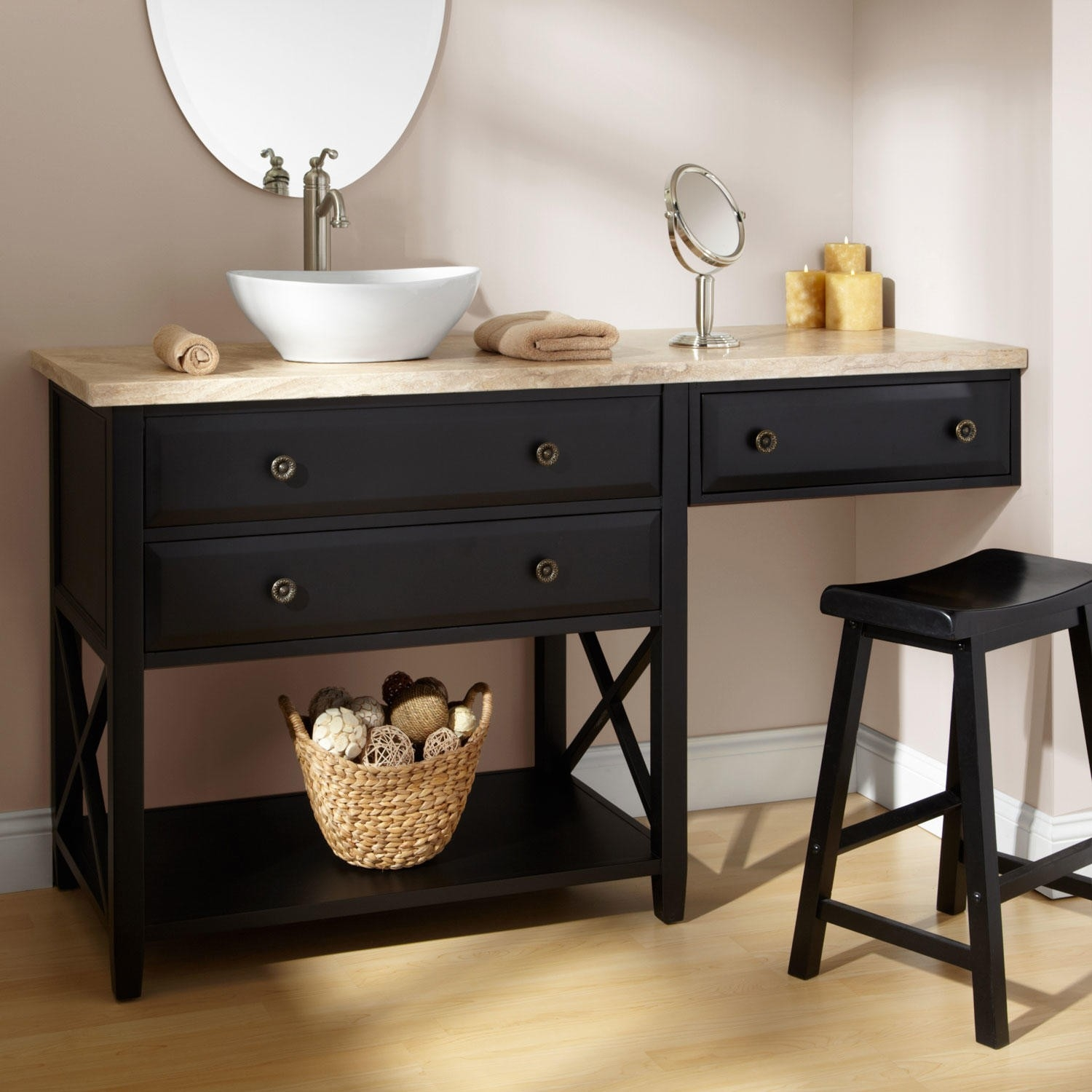 Small Bathroom Vanities With Makeup Area