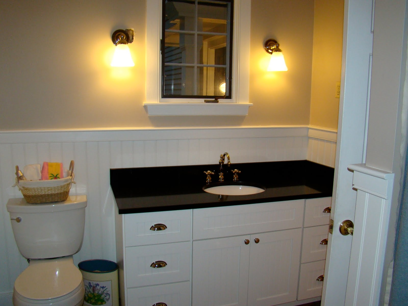 White Bathroom Vanity With Black Marble Top