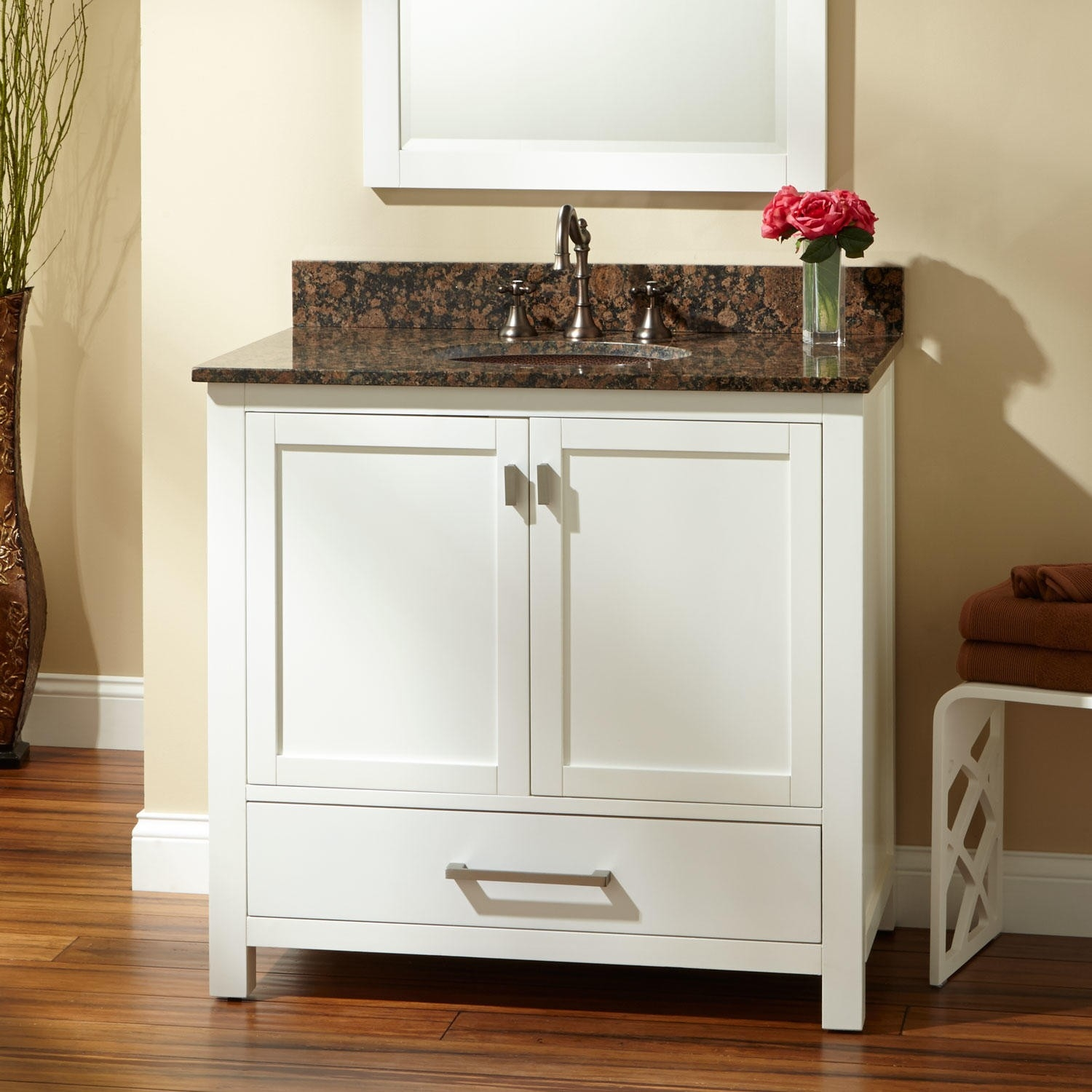 White Vanity With Copper Sink