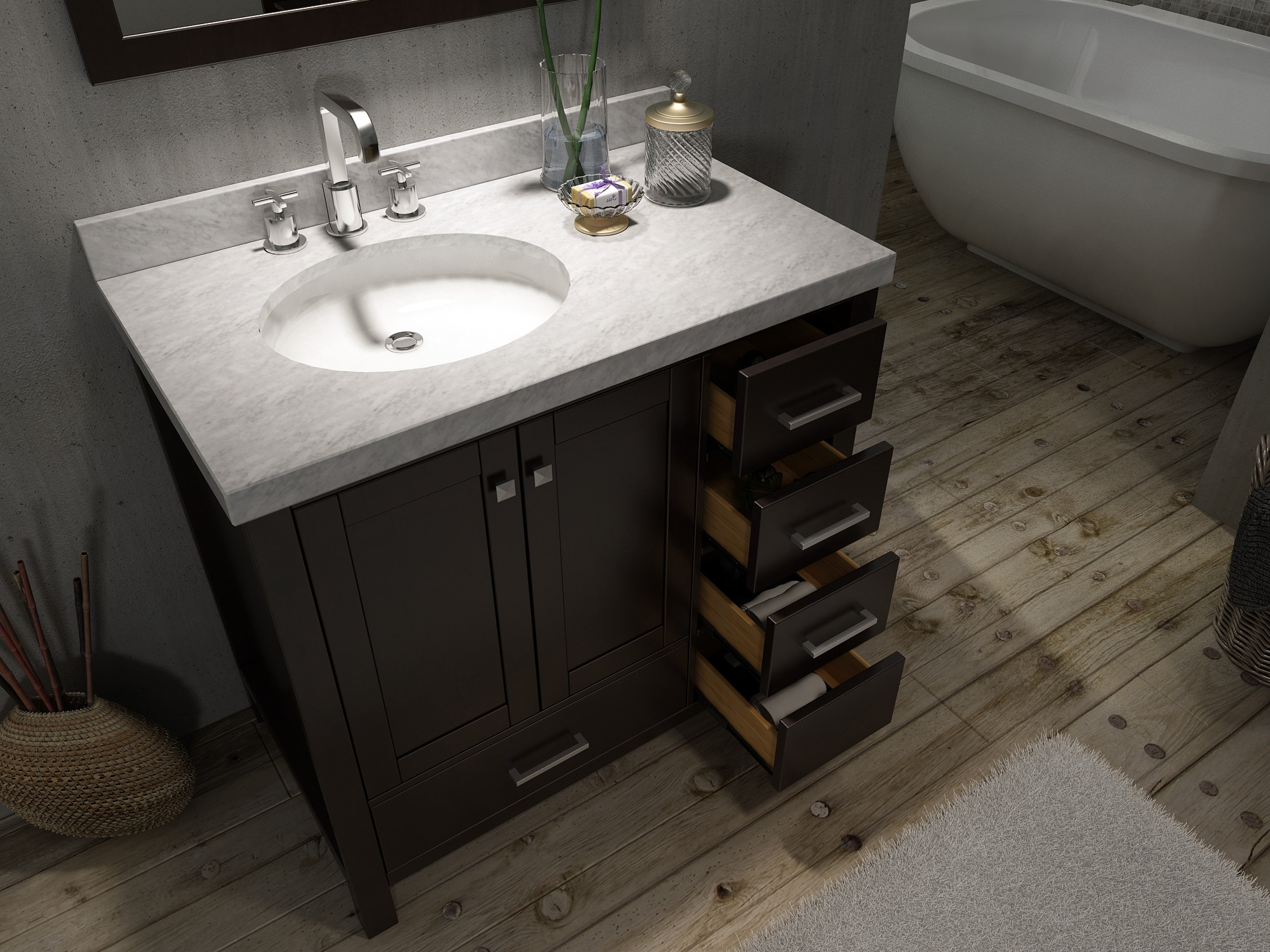 White Vanity With Offset Sink