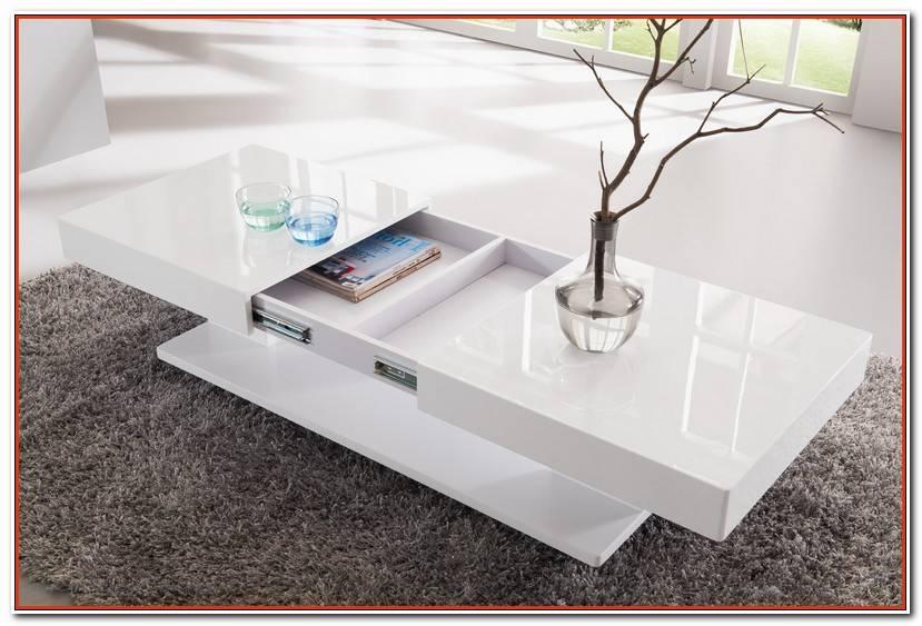 Élégant Table Basse Blanche Laquée