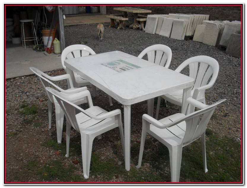 Único Mesa Plastico Jardin Colección De Jardín Accesorios
