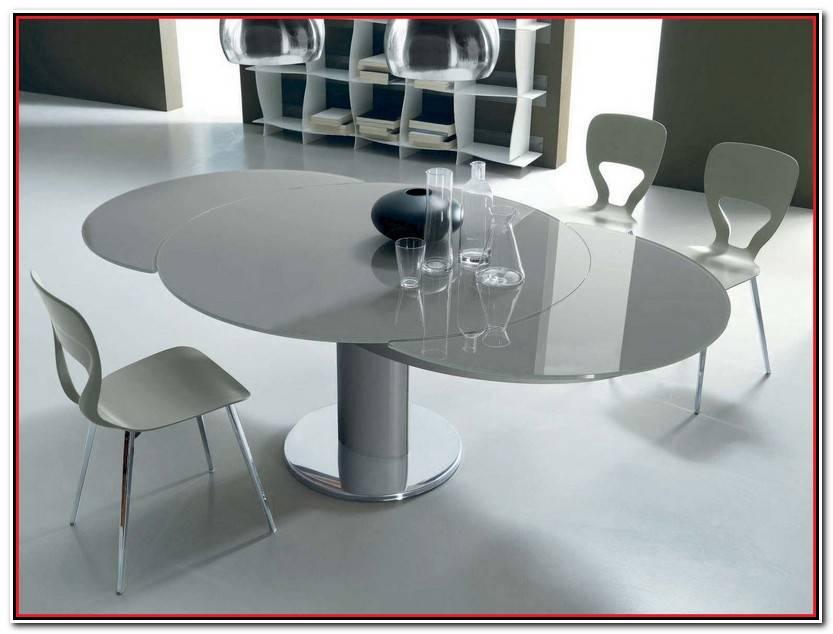 Único Mesa Redonda Cristal Extensible Galería De Mesas Ideas