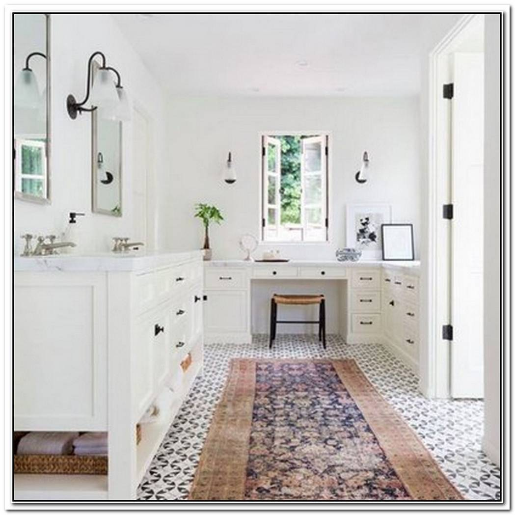 A Kilim Runner Completes A Stunning Bathroom Design