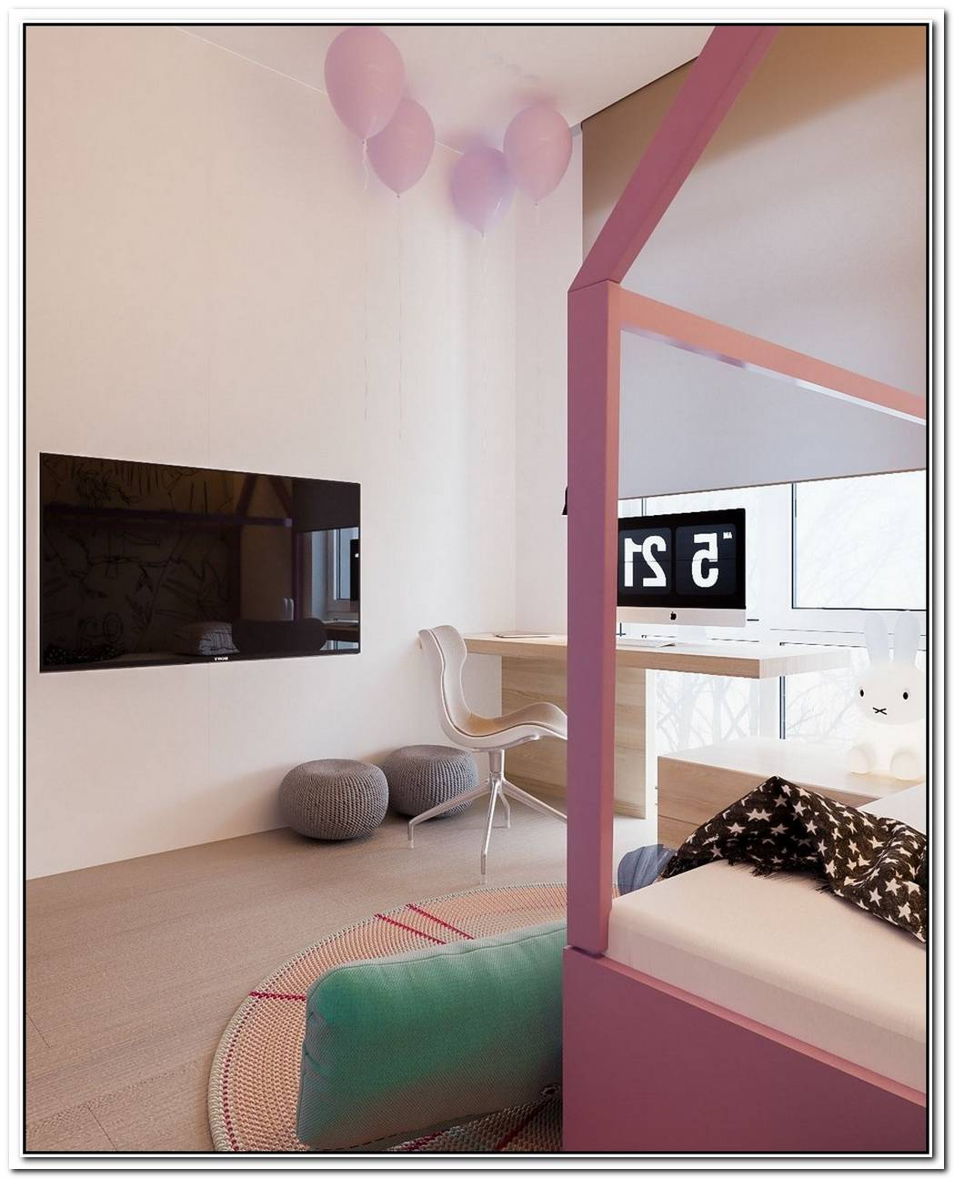 A Minimalist Family Home With A Bright Bedroom For The Kids