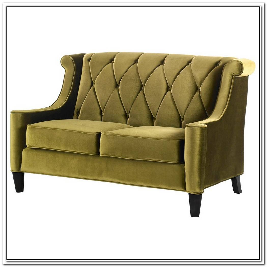 A Modern Green Velvet Loveseat